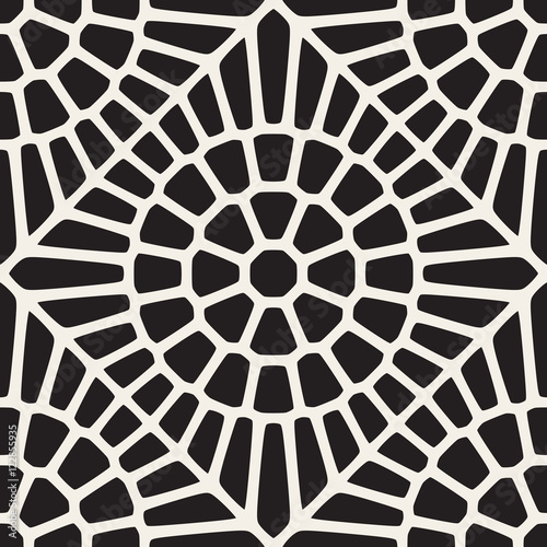 Fotografie, Obraz  Vector Seamless Black and White Rounded Lace Pattern