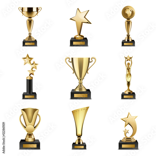 Trophy Awards Realistic Set Canvas Print