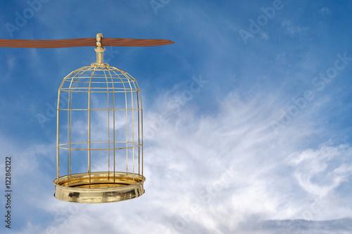 Fotografie, Obraz  3D rendering of  a golden bird cage on sky,