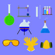 Set of laboratory flasks and test tube with personal protective equipment . Vector illustration.