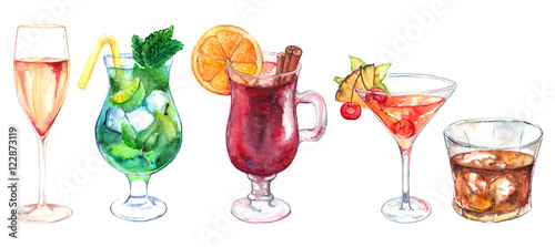 Spoed Foto op Canvas Opspattend water Watercolor exotic drink alcohol cocktail set isolated