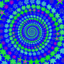 Green Blue Spiral With Stars Geometric Background Pattern
