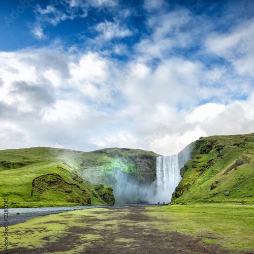 Poster Green waterfall in Iceland