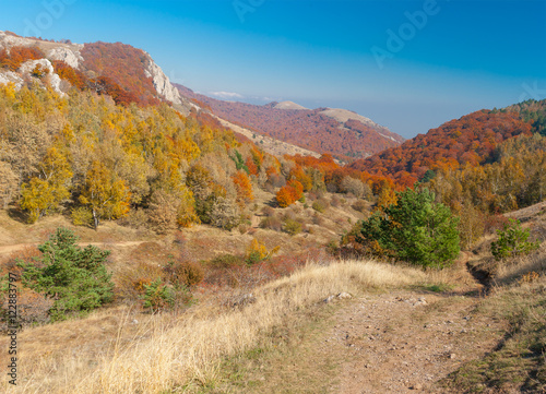 Printed kitchen splashbacks River Autumnal landscape with hiking track in mountain pasture Demerdzhi, Crimean peninsula