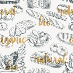 Tapeta Vector bread retro seamless pattern