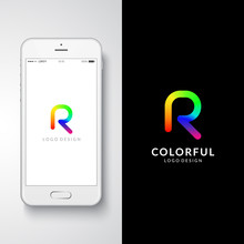 "Colorful Logo Design. Preview On A Smartphone. Letter ""R"". Eps10 Vector Illustration."