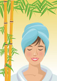 Fototapeta Sypialnia - Girl cartoon with towel and bamboo icon. Spa center and healthy lifestyle theme. Colorful design. Vector illustration