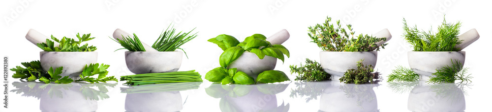 Pestle and Mortar with Green Herbs on White Background