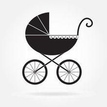 Pram Icon Or Sign. Baby Carria...