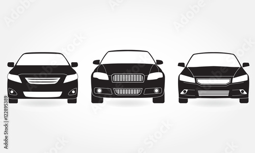Car Icon Set Front View Vector Black Vehicle Silhouette Isolated