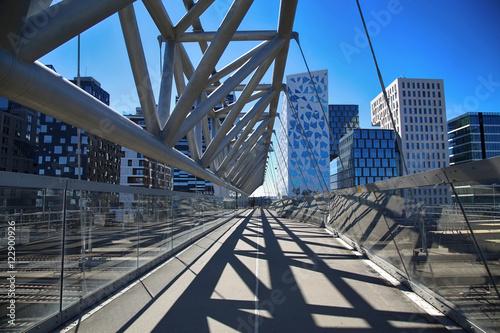 Akrobaten pedestrian bridge in Oslo, Norway Canvas Print
