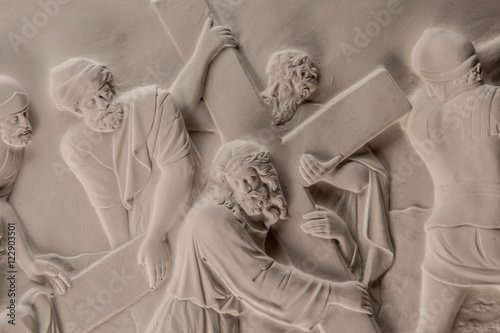 Fotobehang Illustratie Parijs Gypsum dimensional picture with biblical scenes and the Last Supper Way to Calvary.