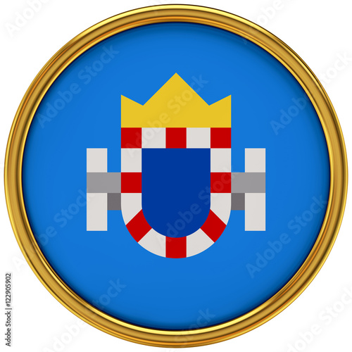 Melilla Flag Glossy Button/icon (3d rendering).