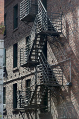 Fire escape on exterior of a building, Pioneer Square, Seattle,