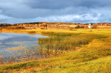 Autumn picturesque landscape -autumn view of Malenets lake and valley in Pushkinskiye Gory, Russia