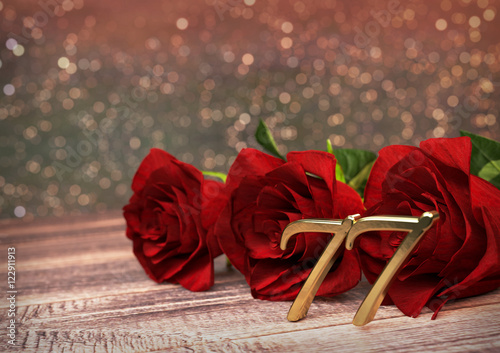 Fotografie, Obraz  birthday concept with red roses on wooden desk