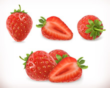 Strawberry. Sweet Fruit. 3d Vector Icons Set. Realistic Illustration