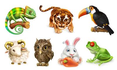 Zabawny zestaw zwierząt. Postać z kreskówki 3d ikona wektor