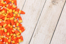 Candy Corn Isolated On A Light Wood Table