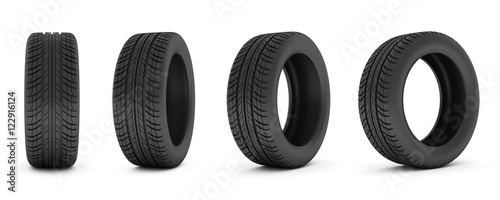 Fotomural car tire. Car tire isolated on white background.
