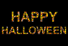 Happy Halloween Text Made Of Candy Corns Isolated On Black 3D Illustration