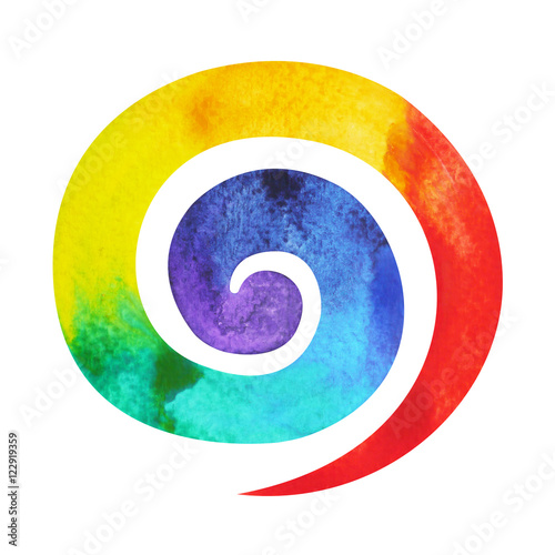 Papiers peints Spirale 7 color of chakra symbol spiral concept, watercolor painting hand drawn