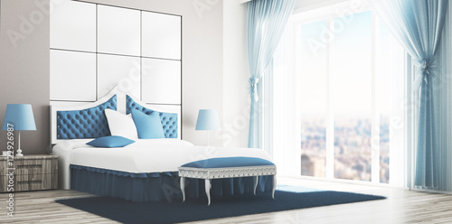 Camera da letto matrimoniale di lusso bianca e azzurra ...