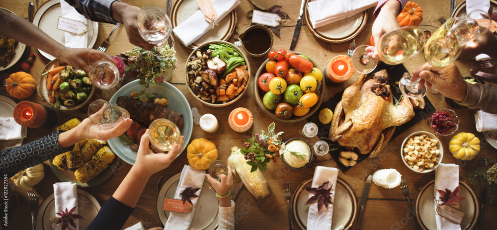 Fototapety, obrazy: People Cheers Celebrating Thanksgiving Holiday Concept