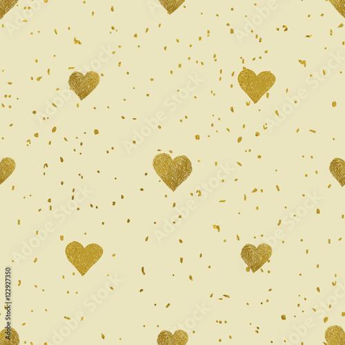 Tapety na ścianę zlotych-serc-bezszwowy-wzor