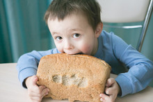 Boy Bites Bread. Cheeked Little Boy Chewing On Bread With A Mischievous Kind