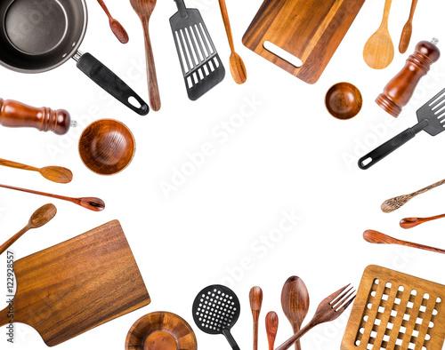 Kitchen Utensils/Various Kitchen Utensils isolated on white back Wallpaper Mural