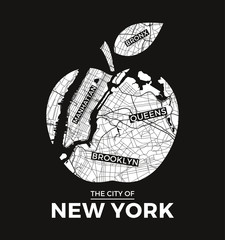 Obraz na SzkleNew York big apple t-shirt graphic design with city map. Tee shirt print, typography, label, badge, emblem. Vector illustration.