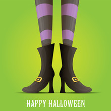 Vector Witch Legs Halloween Background