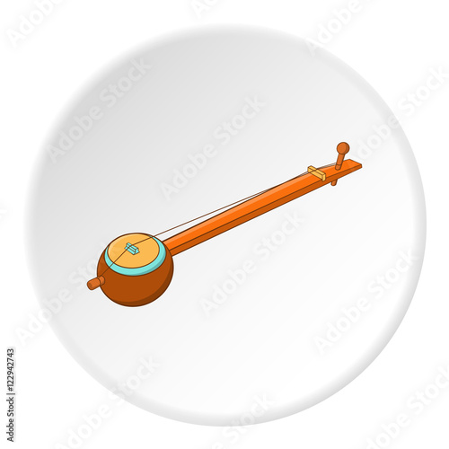 Sitar Icon In Cartoon Style Isolated On White Circle Background