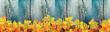 canvas print picture - Herbstlicher Panorama Hintergrund mit schönem getöntem Holz und buntem Laub