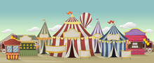 Retro Cartoon Circus With Tents. Vintage Carnival Background.