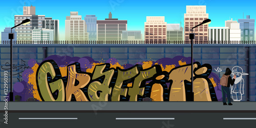 Foto op Plexiglas Graffiti Graffiti wall background, urban art