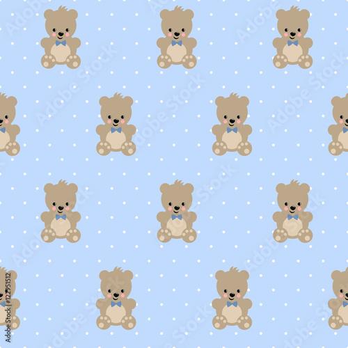 Teddy Bear Seamless Pattern On Baby Blue Polka Dots Background Cute