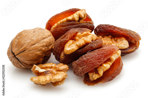 Healthy sun dried apricot fruit and walnut
