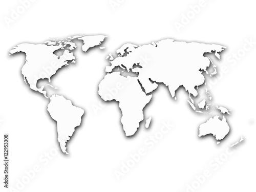 Staande foto Wereldkaart Simplified contour world map with shadow on white gradient background. Vector illustration.