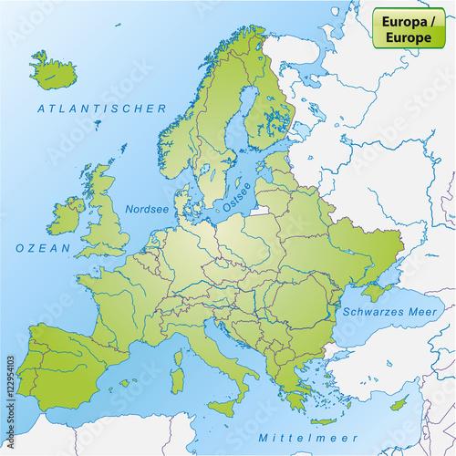 Mittelmeer Karte Europa.Karte Von Europa Mit Gewassernetz Buy This Stock Vector