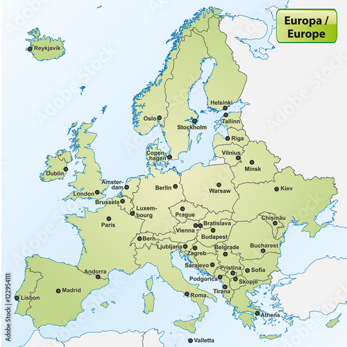 Landkarte von Europa mit Hauptstädten   Buy this stock vector and