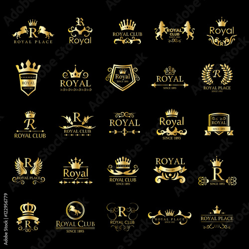 Foto  Royal Logo Set - Isolated On Black Background - Vector Illustration, Graphic Design