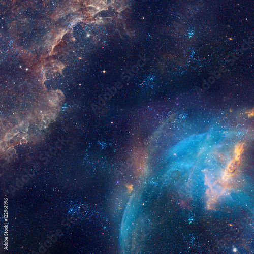 Tuinposter Heelal Galaxy illustration, space background with stars, nebula, cosmos clouds