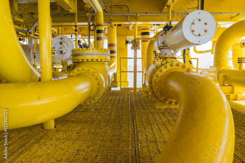 Photo  Shut down valve ( SDV ) and sea line pipe, these valve will automatic close when
