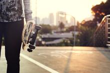 Skater Boy Holding Skateboard ...