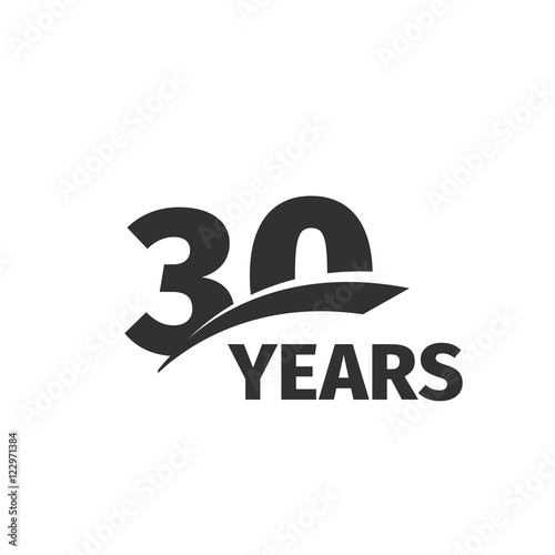 Poster  Isolated abstract black 30th anniversary logo on white background