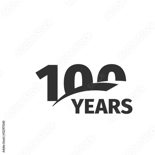 Fotografía  Isolated abstract black 100th anniversary logo on white background