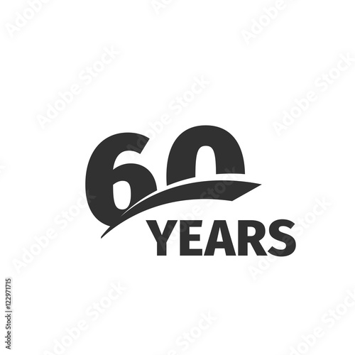 Fotografia  Isolated abstract black 60th anniversary logo on white background