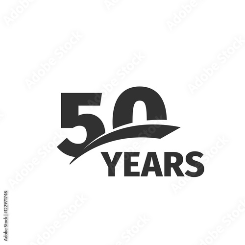 Fotografia  Isolated abstract black 50th anniversary logo on white background